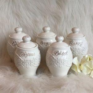 🆕Anthropologie Porcelain Spice Jars